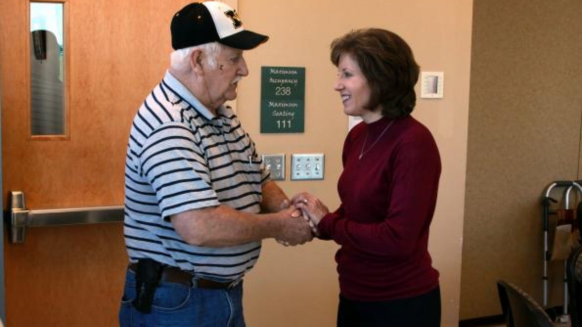 Congresswoman Vicky Hartzler meets with senior citizens at a Town Hall meeting in Harrisonville, Missouri